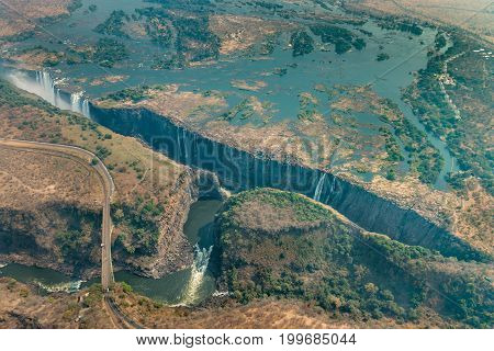 Victoria Falls At Drought, Aerial Shot