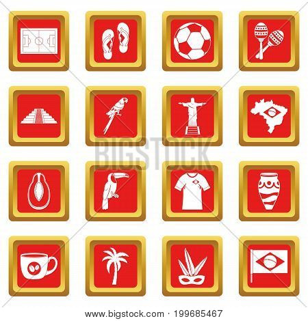 Brazil travel symbols icons set in red color isolated vector illustration for web and any design