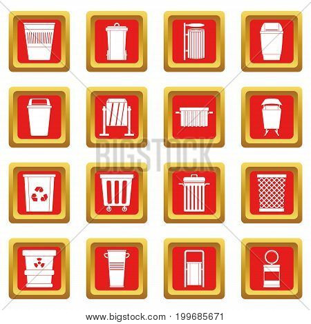 Garbage container icons set in red color isolated vector illustration for web and any design