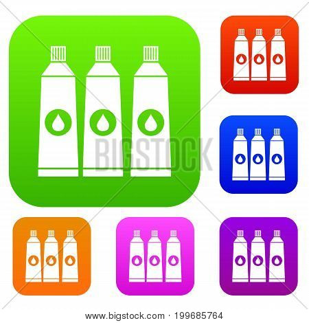 Three tubes with paint set icon in different colors isolated vector illustration. Premium collection