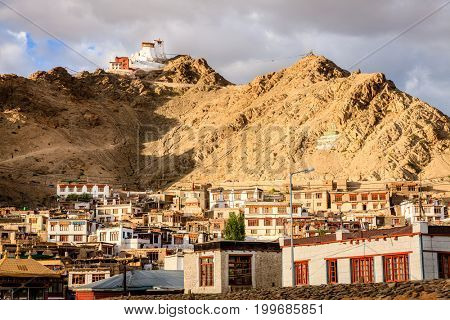 View to a residential area of city of Leh and Namgyal Tsemo Monastery in Ladakh region of Kashmir, India
