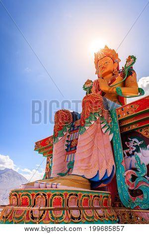 Maitreya Buddha statue near Diskit Monastery in Ladakh, Kashmir, India