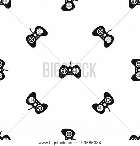 Video game console controller pattern repeat seamless in black color for any design. Vector geometric illustration