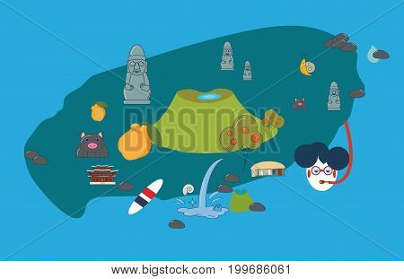 Vector illustration to promote Jeju Island: Jeju-do cartoon styled map with attractions and symbols: Hallasan, Dol Hareubang or harubang, known as Stone grandfather, Haenyeo or Jeju female diver, etc.