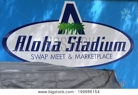 Aloha Stadium Swap Meet Marketplace sign Hawaii
