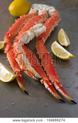Red king crab legs with lemon