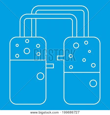 Two glasses icon blue outline style isolated vector illustration. Thin line sign
