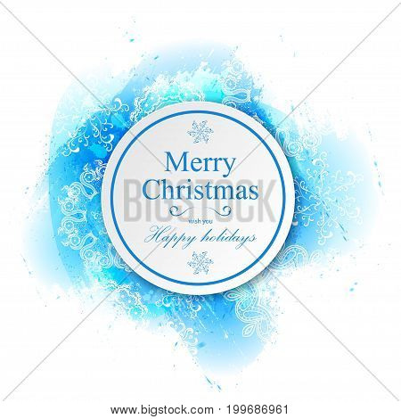 Vector watercolor splash texture. Hand-drawn blob spot. Winter Christmas and New Year xmas theme. Blue colors abstract background. Snowfall. Silhouettes of snowflakes. Winter seasonal texture.