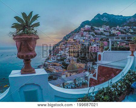 Sunset at Amalfi Coast; Positano, Italia. 2017