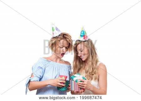 Beautiful Happy Girls With Gift Box At Celebration Birthday Party.