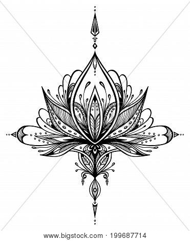 Abstract decorative element in Boho style for tattoo or print T-Shirt or for decorate different things or for adult relax coloring page book