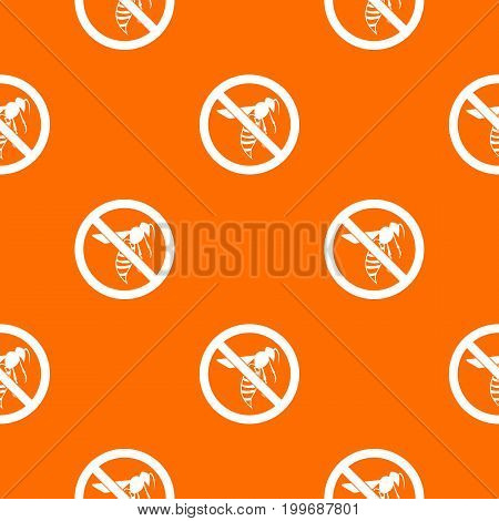 No wasp sign pattern repeat seamless in orange color for any design. Vector geometric illustration