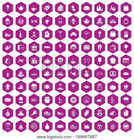 100 bounty icons set in violet hexagon isolated vector illustration