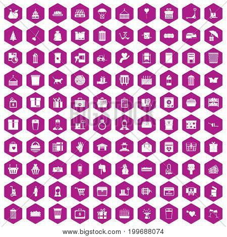 100 box icons set in violet hexagon isolated vector illustration