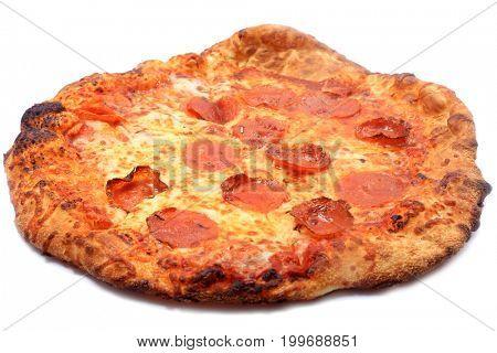 Pepperoni Pizza. Fresh Baked Pepperoni Pizza isolated on white.