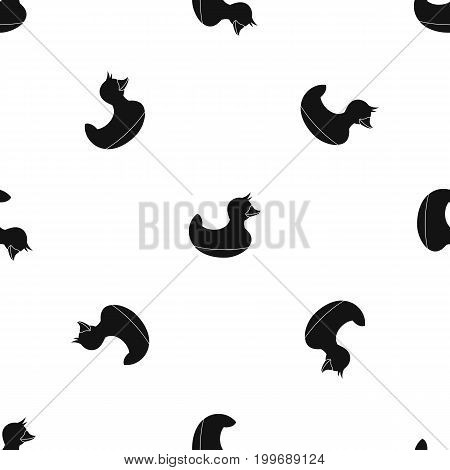 Black duck toy pattern repeat seamless in black color for any design. Vector geometric illustration