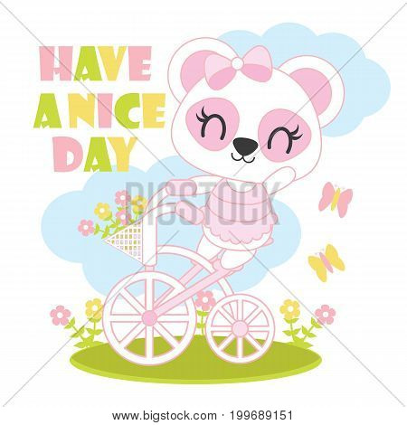 Cute baby panda rides bicycle vector cartoon illustration for baby shower card design, kid t shirt design, and wallpaper