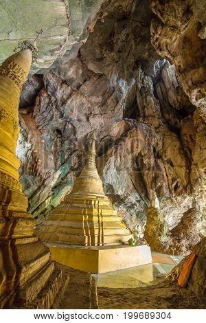 Buddhist pagodas in Yathaypyan Cave near Hpa-An in Myanmar (Burma)