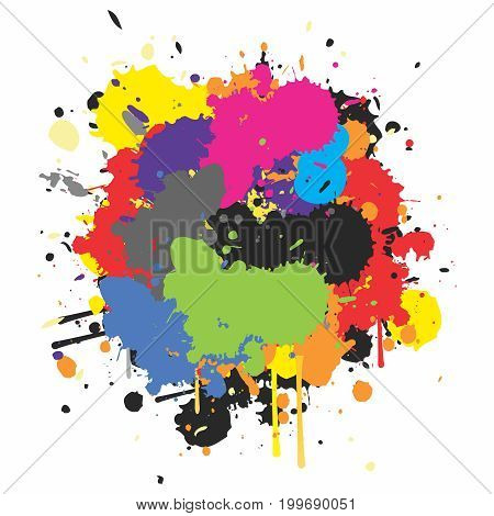 Vector Abstract Colorful Paint Splat of Watercolor