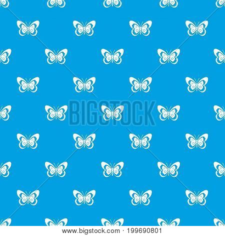 Butterfly pattern repeat seamless in blue color for any design. Vector geometric illustration