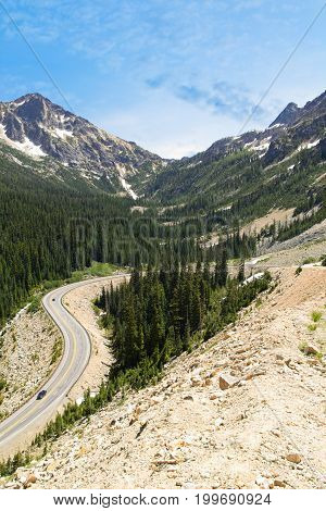 A highway switchback along the Cascade Loop scenic drive highway in Washington