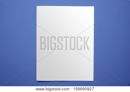 Blank Magazine Cover Template Isolated On Blue Background With Clipping Path Ready For Your Artwork