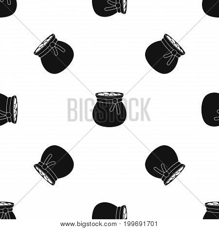 Bag full of gold coins pattern repeat seamless in black color for any design. Vector geometric illustration
