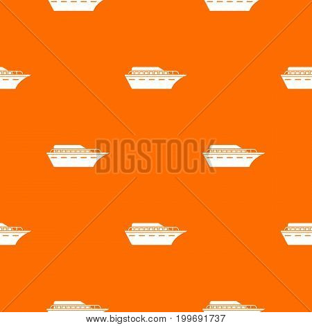 Powerboat pattern repeat seamless in orange color for any design. Vector geometric illustration