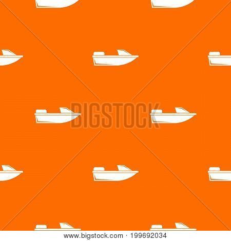 Sports powerboat pattern repeat seamless in orange color for any design. Vector geometric illustration