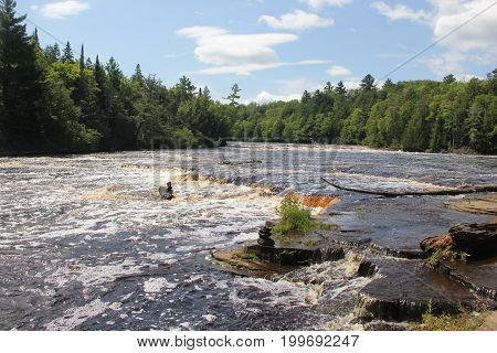 Rapids of the Lower Tahquamenon Falls in Upper Peninsula of Michigan.