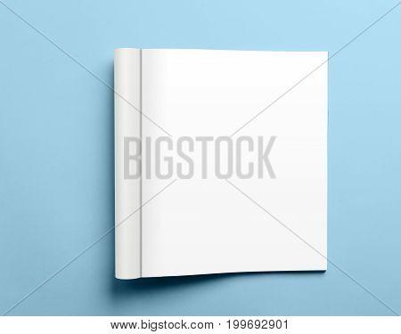 Blank Open Magazine Isolated On Blue Background
