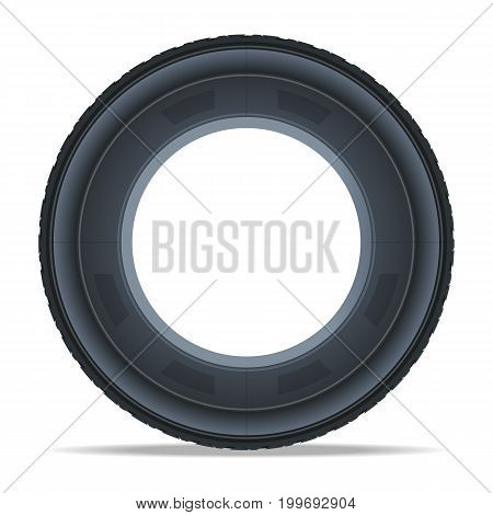 Side view car tire icon. Consumables for car, auto service concept, wheel vehicle isolated on white background vector illustration.