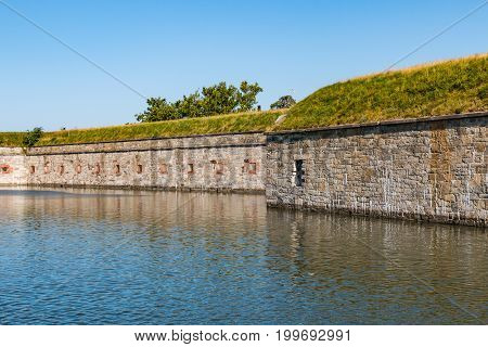 HAMPTON, VIRGINIA - JULY 9, 2017:  Completed in 1836, Fort Monroe was originally designed to protect the Hampton Roads waterway from an enemy attack.  It is the largest stone fort in America.