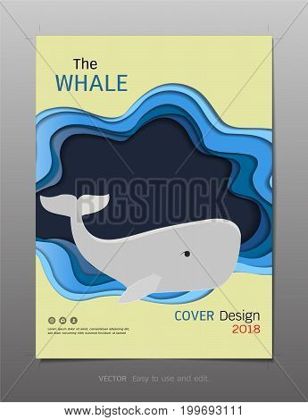 Minimal covers book design template vector, Inspiration for save the whale concept, Use in brochure, annual report, flyer - leaflet, magazine, poster, corporate presentation, portfolio, banner, website.