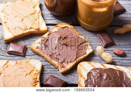 nut nougat cream with chocolate and peanut sandwich