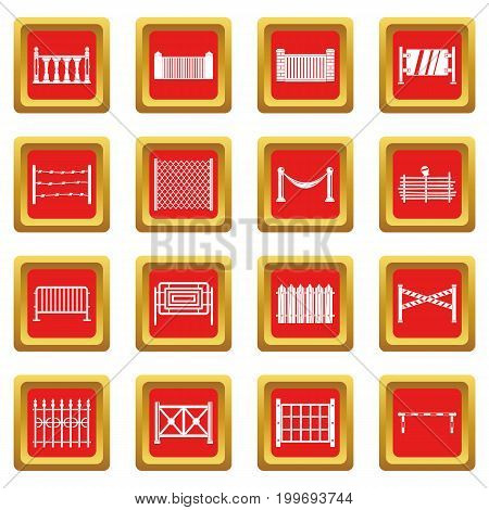 Fencing icons set in red color isolated vector illustration for web and any design
