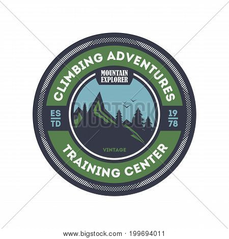 Climbing training centre vintage isolated badge. Mountain explorer sign, touristic expedition label, nature hiking and trekking vector illustration