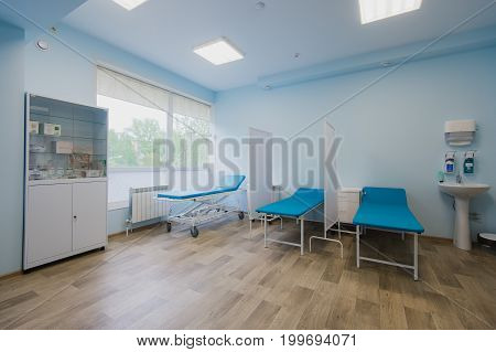 Hospital room with beds and comfortable medical equipped in a modern hospital.