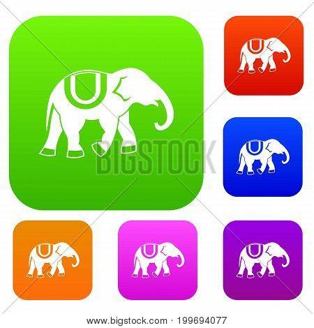 Elephant set icon in different colors isolated vector illustration. Premium collection