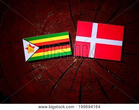 Zimbabwe Flag With Danish Flag On A Tree Stump Isolated