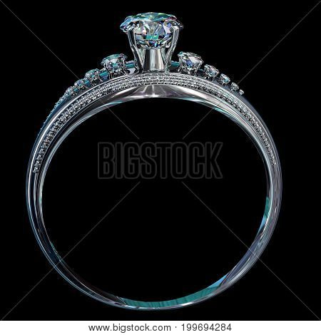 Silver band for engagement with gem. Top view of diamond facetes luxury jewellery bijouterie ring from white gold or platinum with gemstone. 3D rendering on black background. Shining stones close-up.