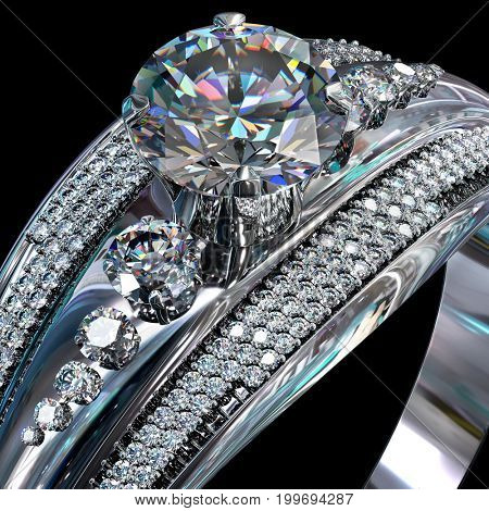 Silver band for engagement with brilliant gem. Top view of diamond facetes luxury jewellery bijouterie ring from white gold or platinum with gemstone. 3D rendering on dark background. Close-up.