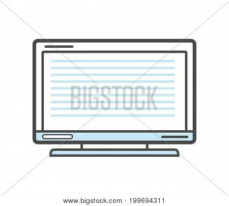 Computer monitor isolated linear icon. Modern technology gadget, electronic smart device isolated on white background vector illustration.