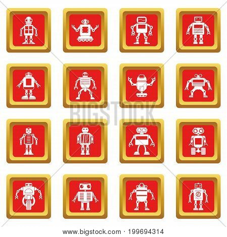 Robot icons set in red color isolated vector illustration for web and any design