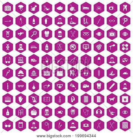 100 care icons set in violet hexagon isolated vector illustration