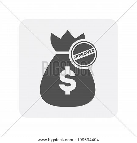 Credit worthiness icon with bag of money element. Credit score symbol, financial history, commercial bank pictogram isolated vector illustration