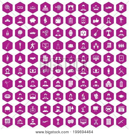 100 career icons set in violet hexagon isolated vector illustration
