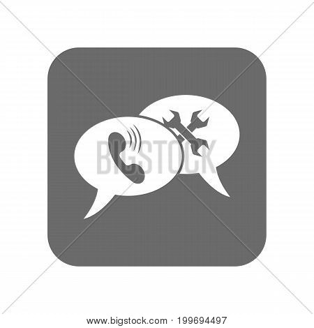 Customer service icon with speech bubble. Support management, online service centre pictogram isolated vector illustration.