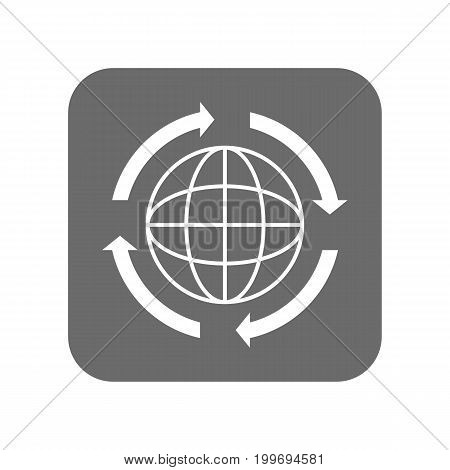 Customer service icon with globe sign. Support management, service centre pictogram isolated vector illustration.