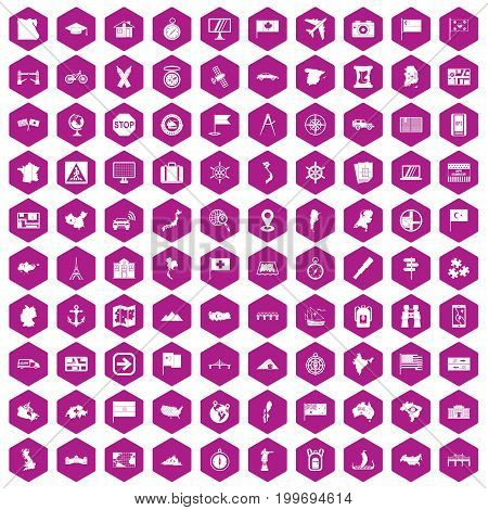 100 cartography icons set in violet hexagon isolated vector illustration